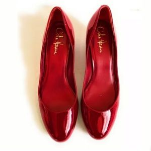 New Cole Haan Red Patent Leather Wedge Shoes 7